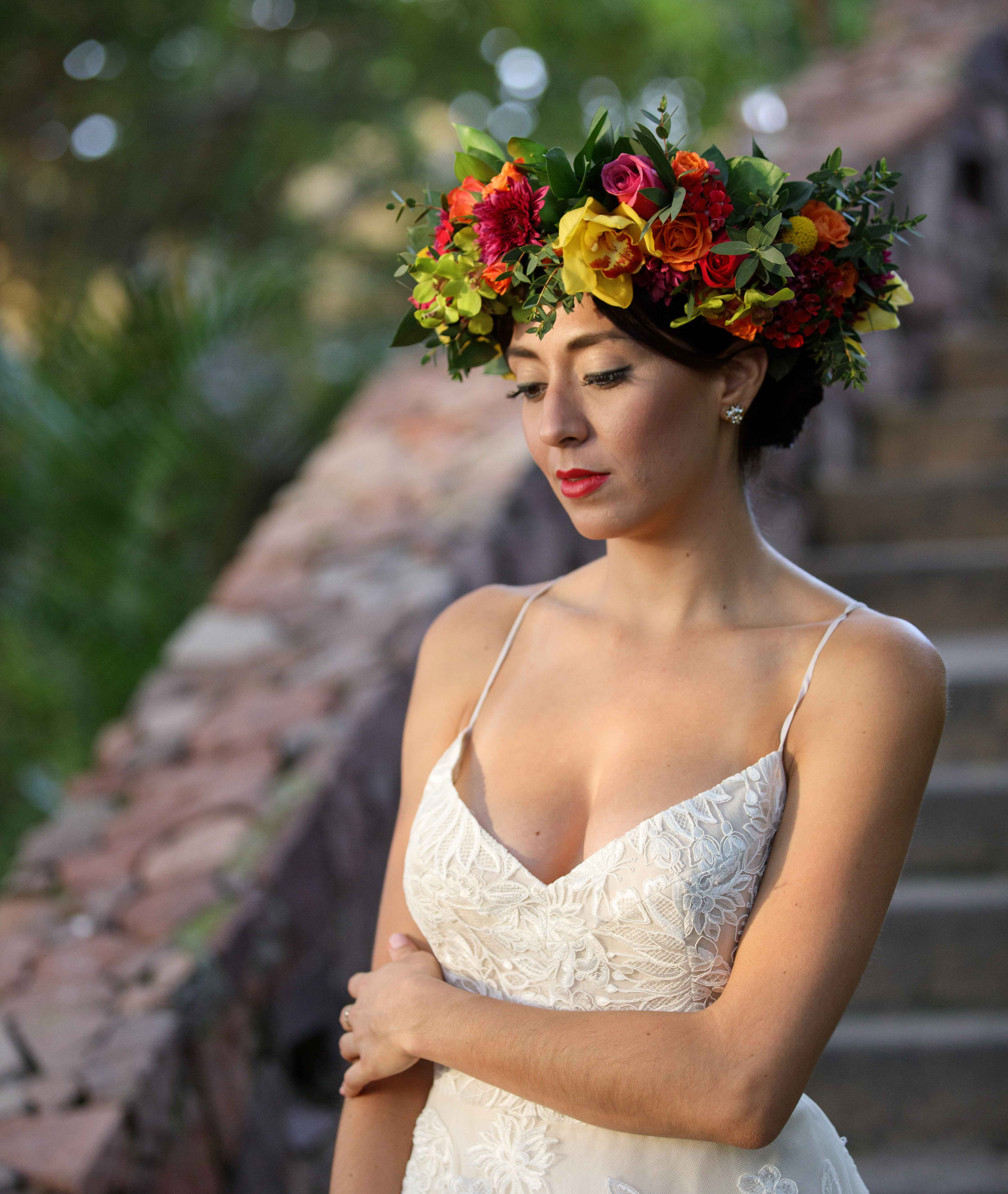 10 beautiful flower crown ideas for boho chic brides inside weddings tropical bridal flower crown with pink orange yellow flowers inspired by frida kahlo izmirmasajfo