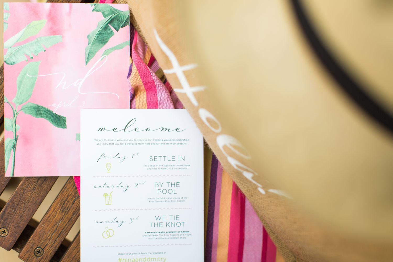 Detail shot of invitation for wedding weekend destination wedding capturing the details