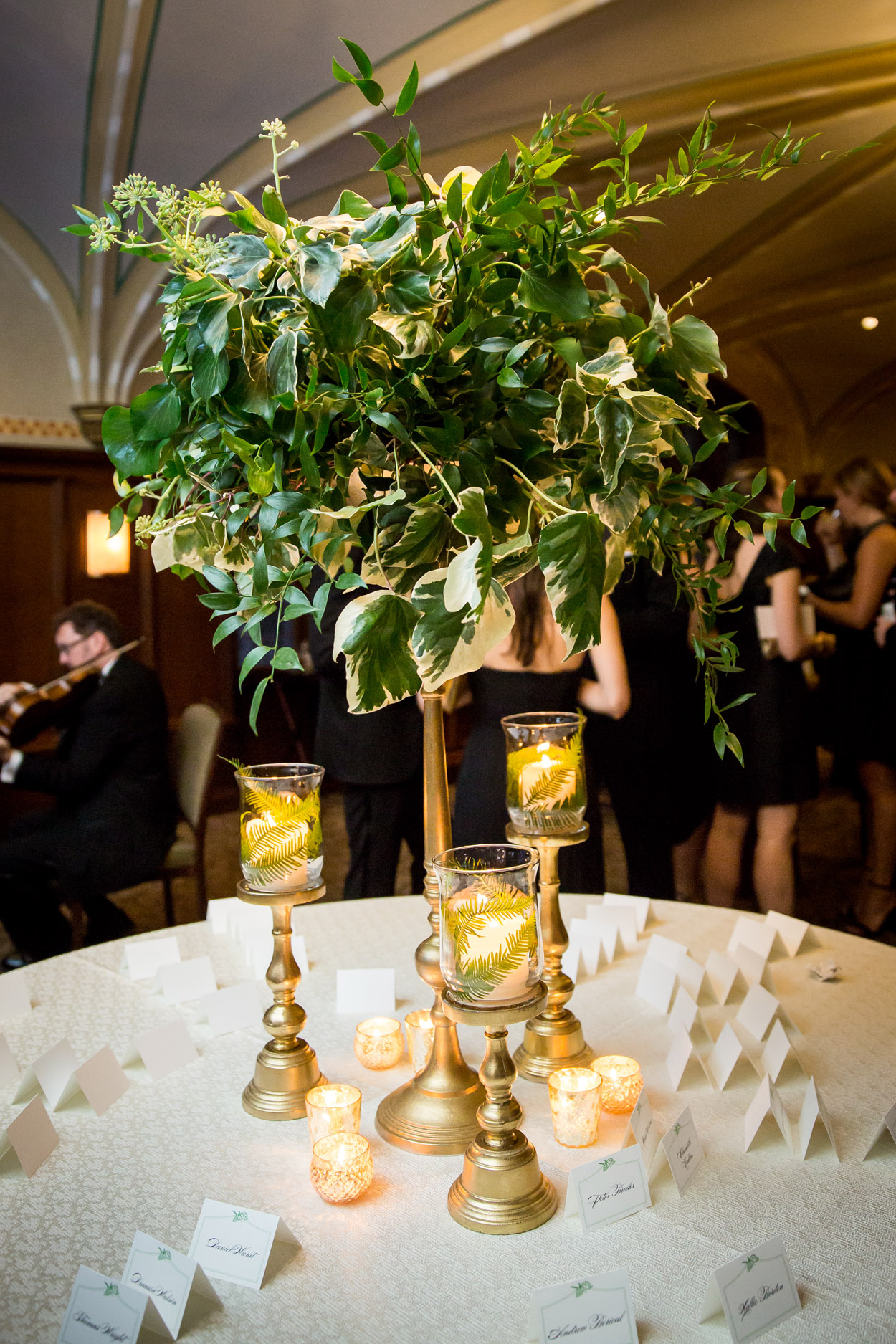 Wedding floral arrangements comprised only of greenery