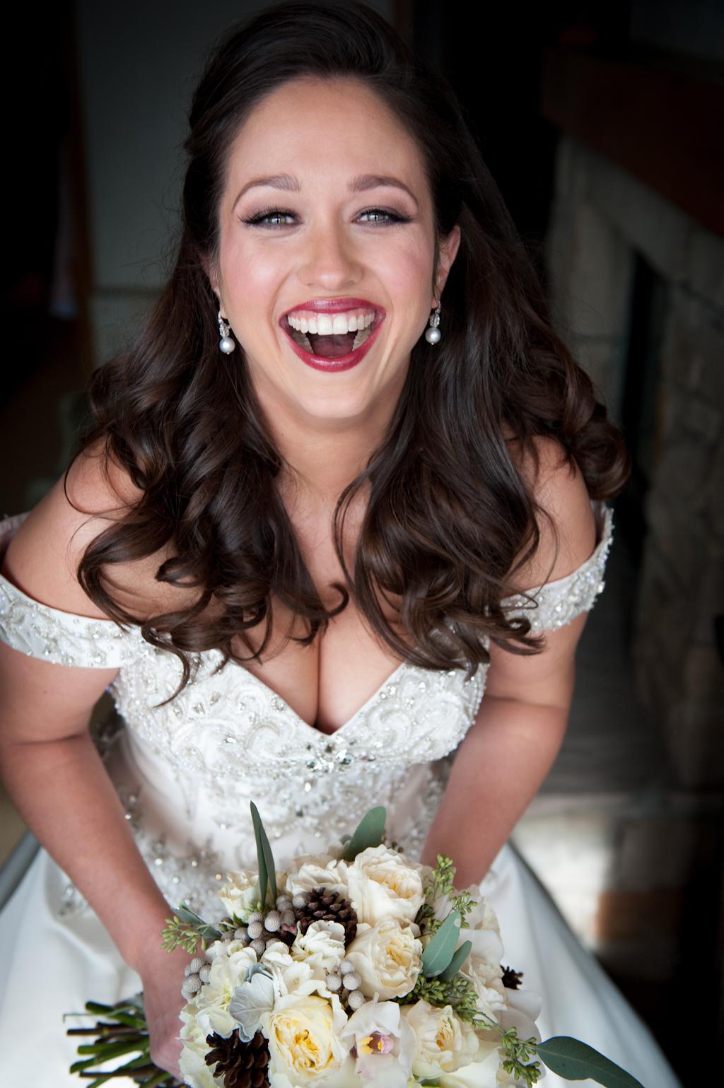 Bride in half up half down wedding hairstyle brown brunette