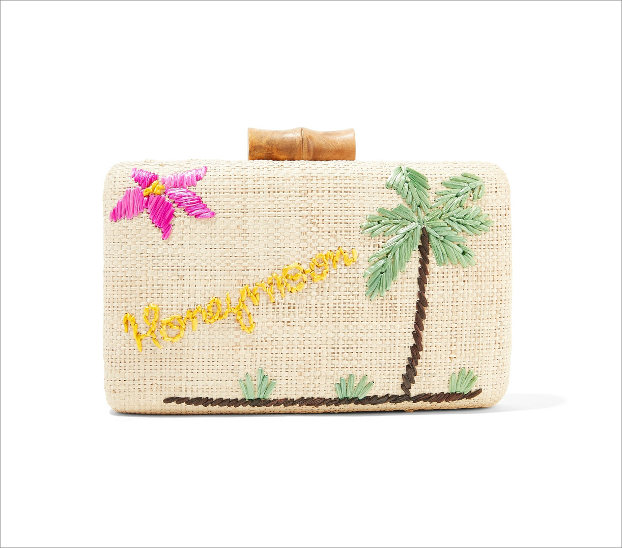 Kayu embroidered honeymoon raffia clutch honeymoon outfit ideas