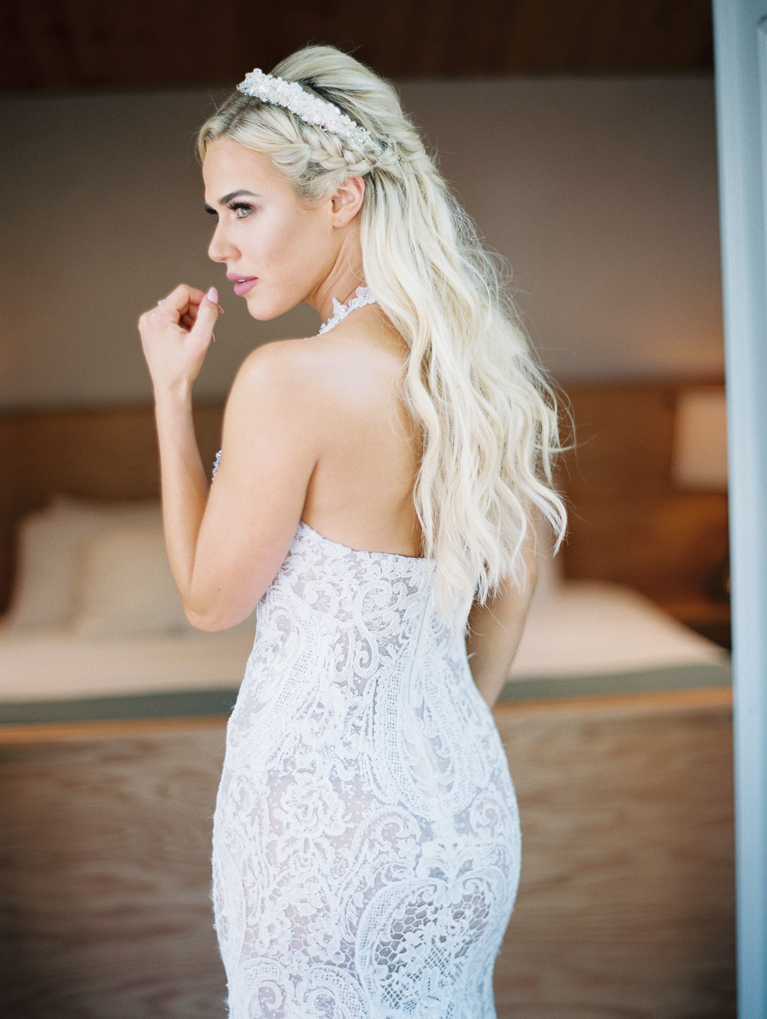 CJ Lana Perry WWE wedding hairstyle long beachy waves with fishtail braid and headpiece