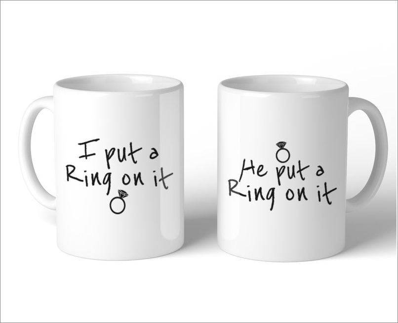 """Ring on It"" 2-piece mug set, $20.99 by 365 Printing Inc; wayfair.com"