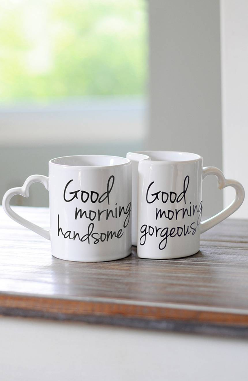 """Good Morning"" ceramic coffee mugs, $34 by Cathy's Concepts; nordstrom.com"