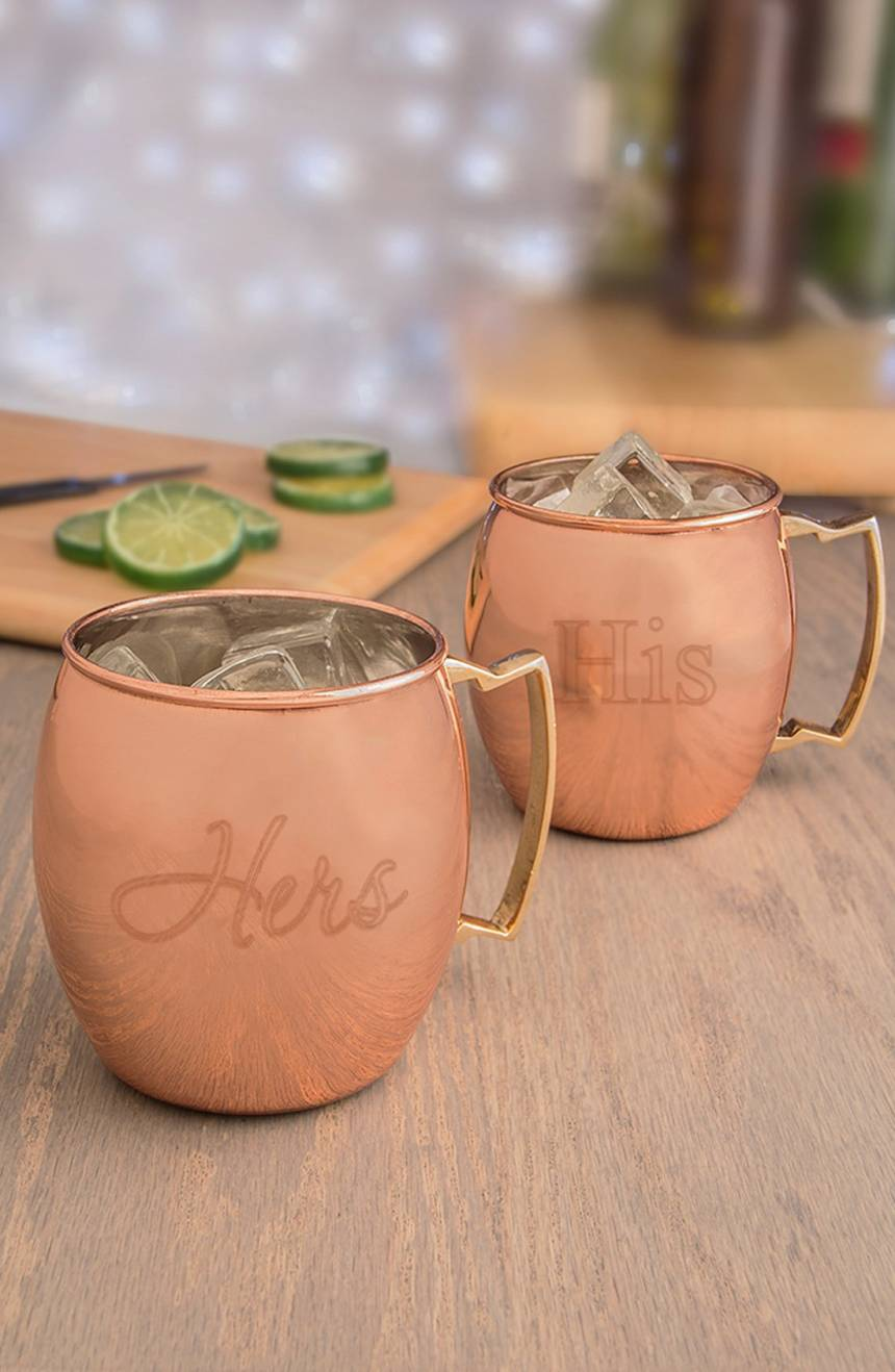 """For the Couple"" Moscow Mule copper mug set, $75 by Cathy's Concepts; nordstrom.com"