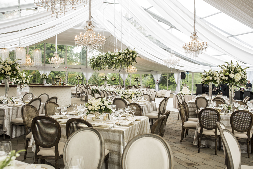 Beautiful tent wedding reception with neutral patterned linens on tables & Wedding Inspiration: Reception Tables with Pattern Linens - Inside ...