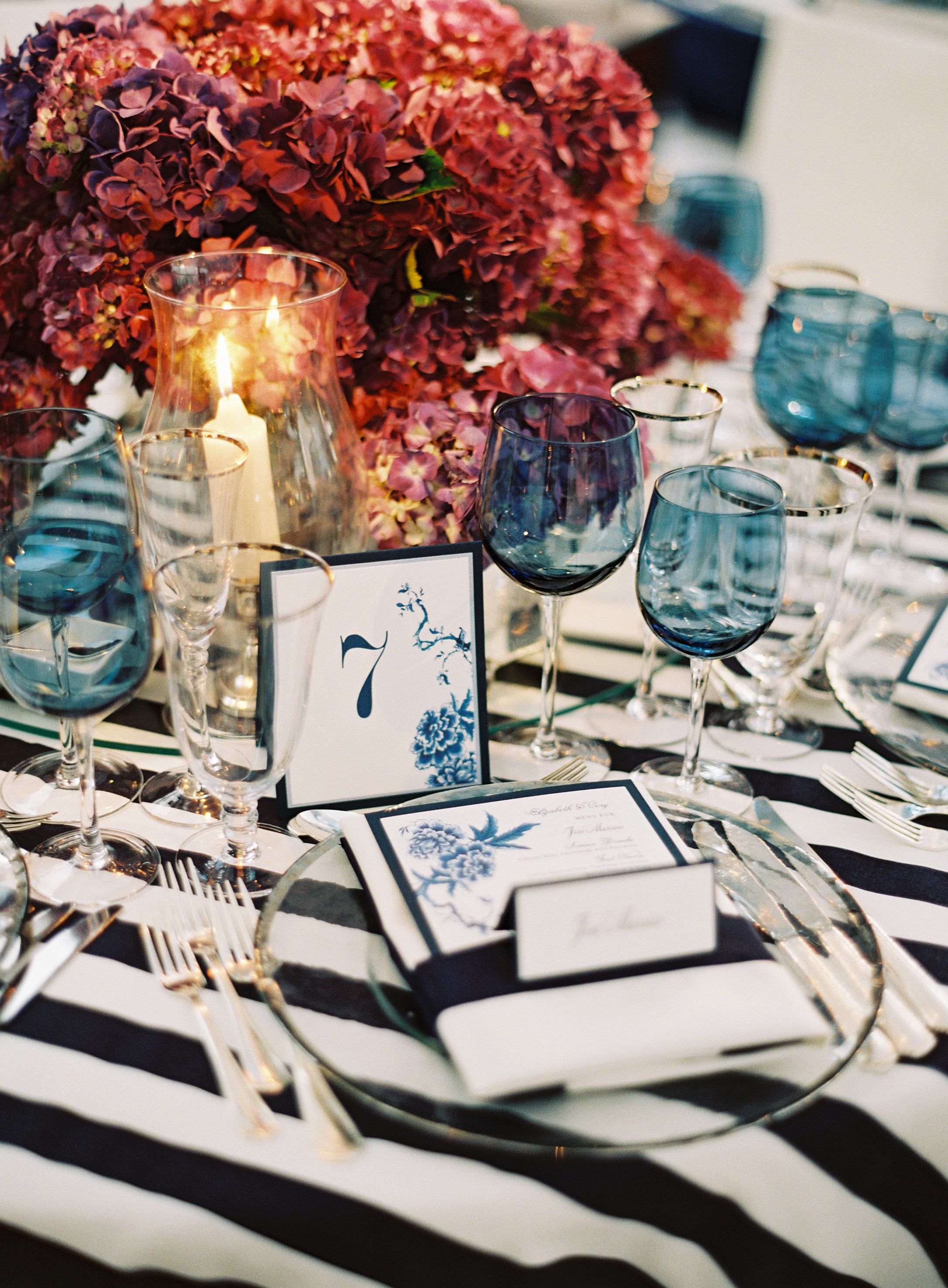 Bold striped navy white table cloth linen at wedding rehearsal dinner