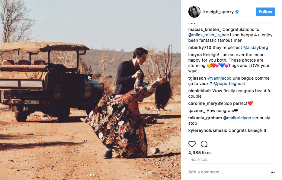 Miles Teller and Keleigh Sperry instagram south africa safari engagement