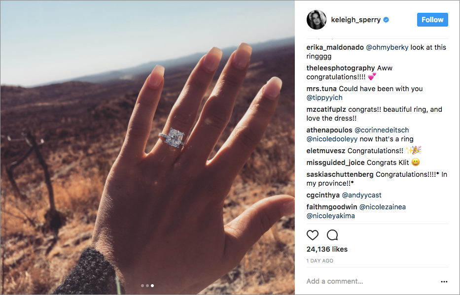 Miles Teller and Keleigh Sperry engagement in South Africa large radiant cut wedding ring engagement ring