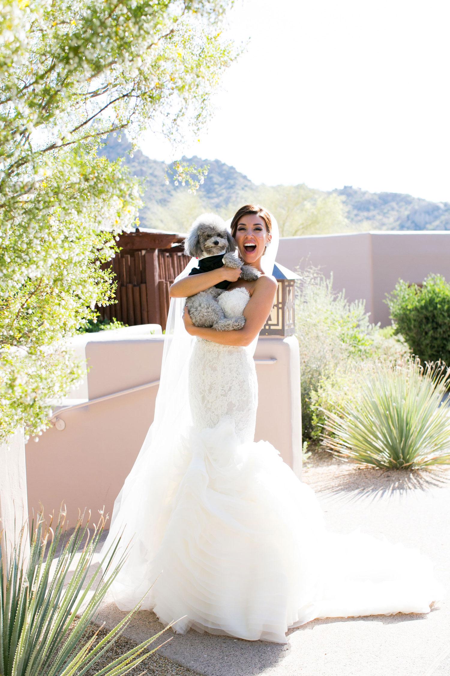 Adrianna Costa TV host holding grey little dog at wedding