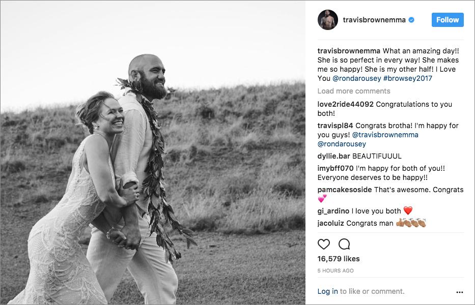 ronda rousey travis browne mma hawaii wedding black and white photo galia lahav