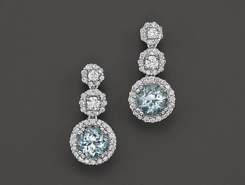 Blue aquamarine earrings with diamonds something blue wedding ideas