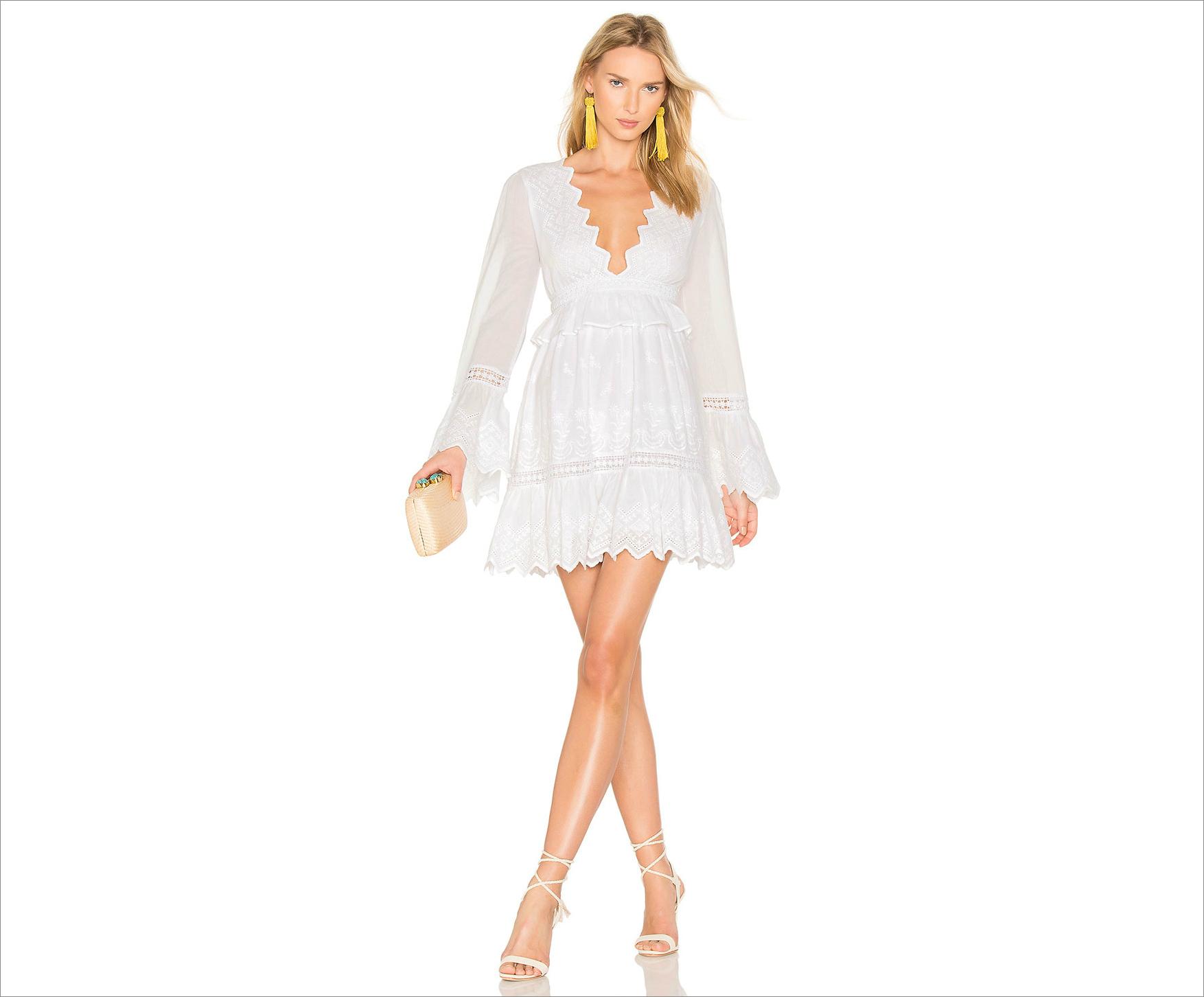 White v neck honeymoon long sleeve dress ideas