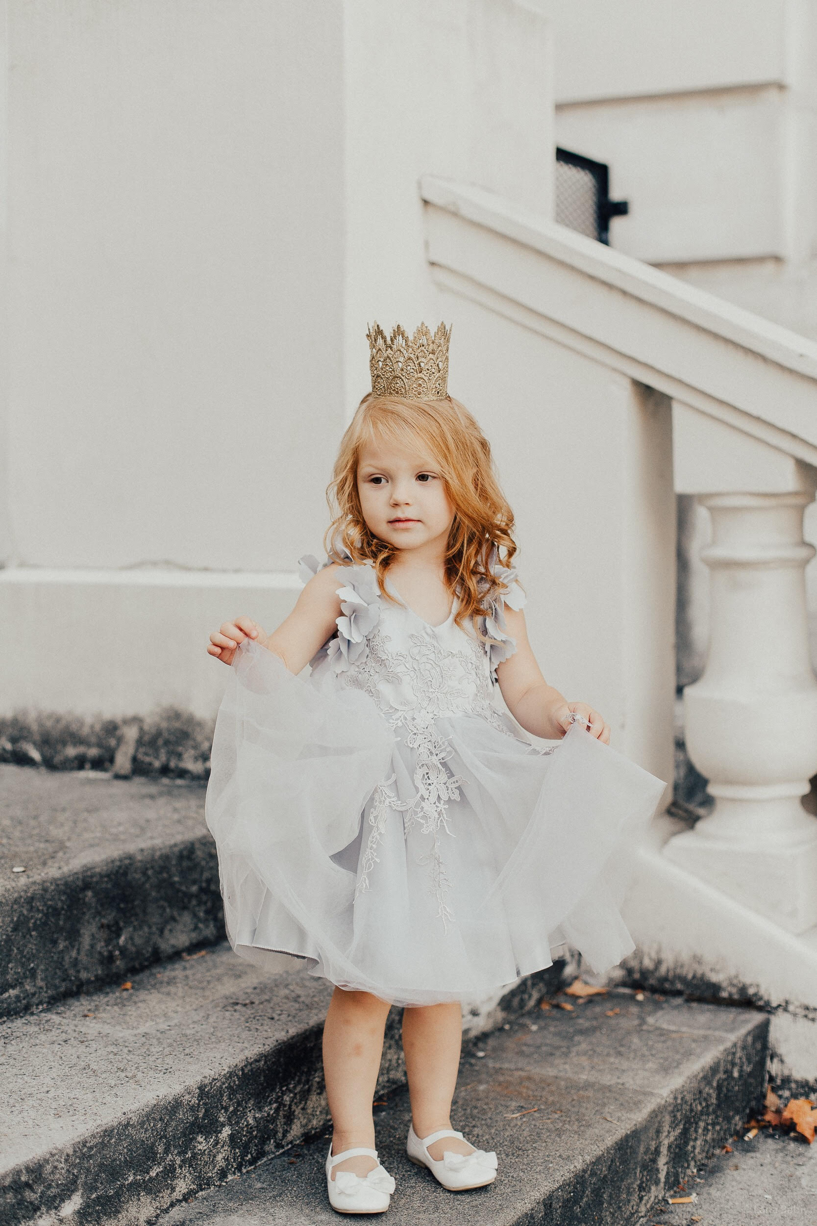Alice grey flower girl dress from Moderne Child Shoppe