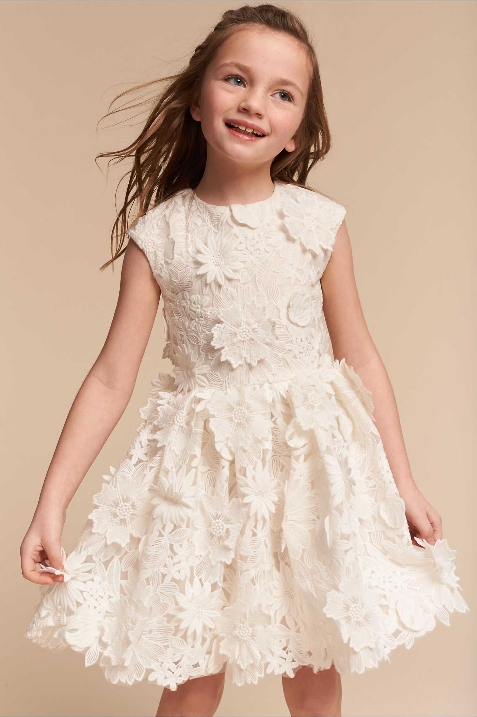 Wedding ideas shop these cute flower girl dresses inside weddings white flower girl dress with flower appliques from bhldn ombrellifo Image collections