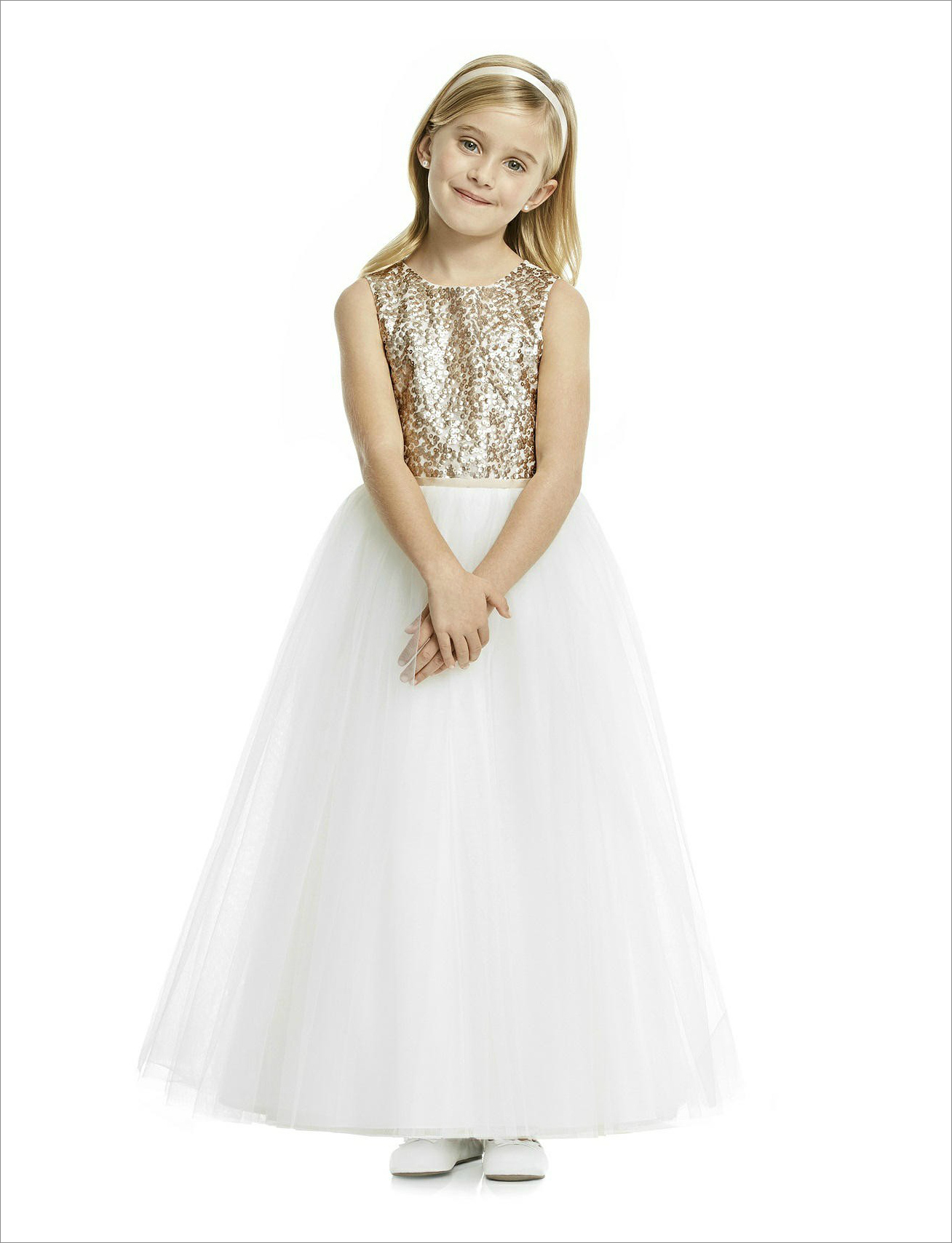 Sequin bodice flower girl dress from The Dessy Group
