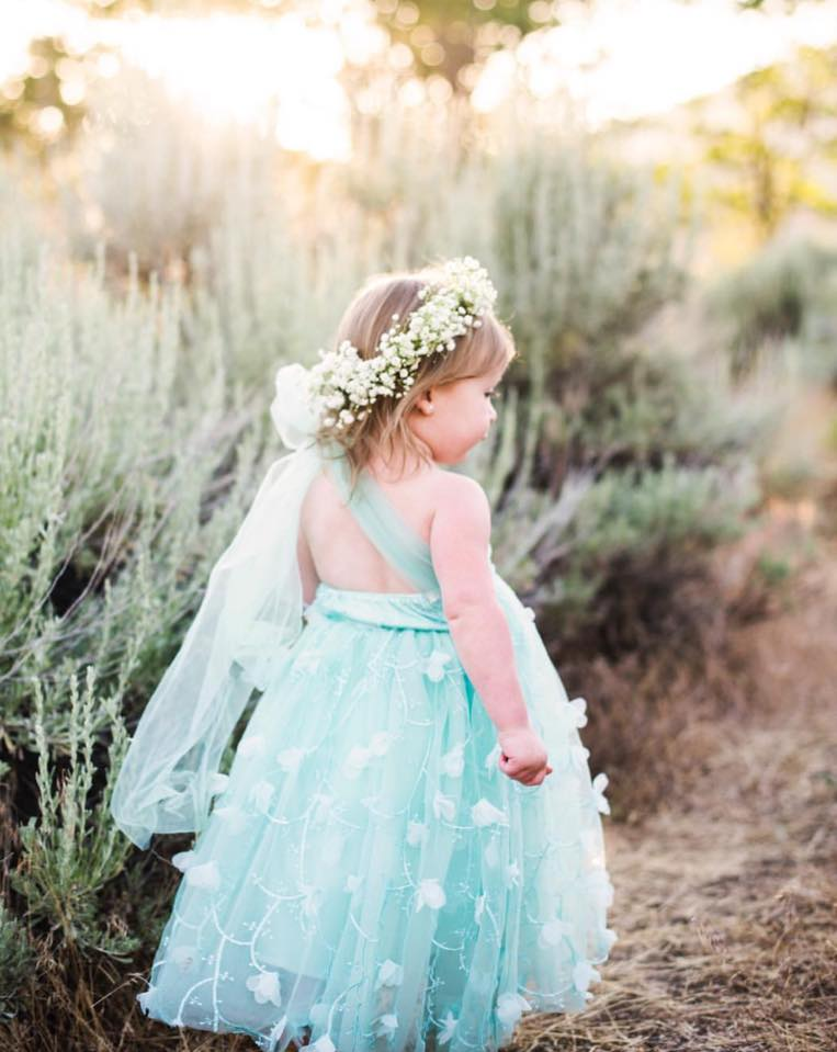 Anika flower girl dress turquoise from Moderne Child Shoppe