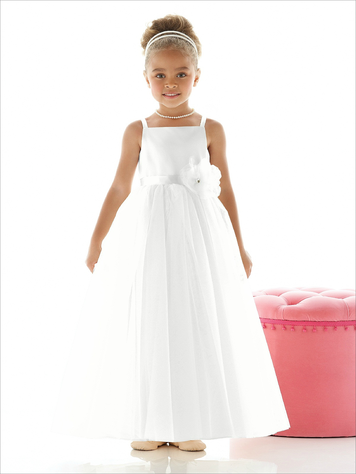 Ivory flower girl dress with banding tulle and matte satin