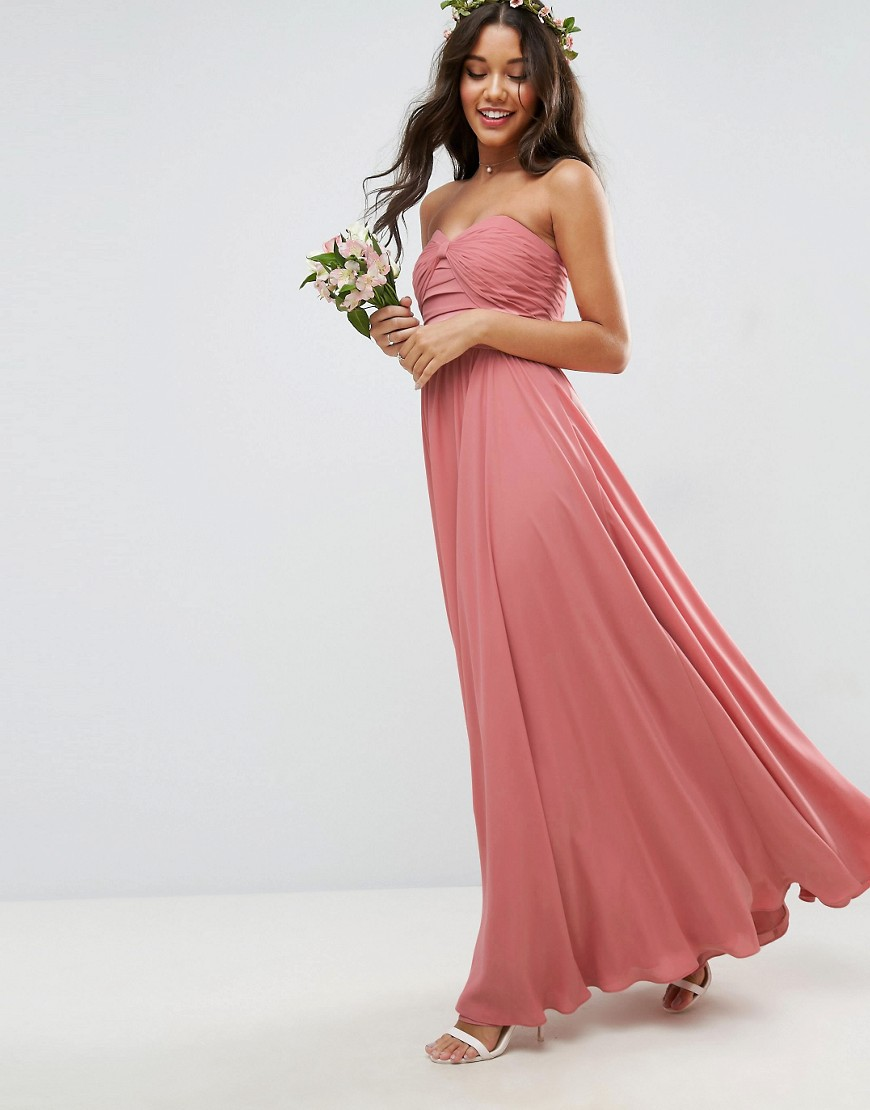 Bow front maxi dress bandeau bridesmaid dress ideas asos