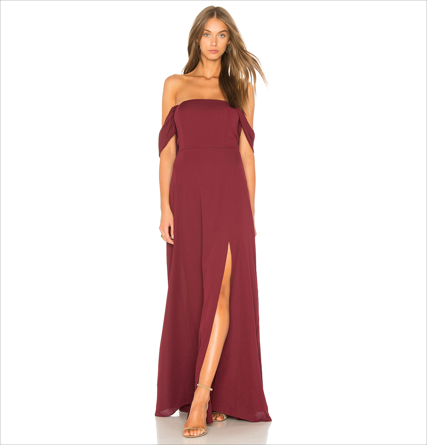 Off shoulder burgundy bridesmaid dress idea under 150 revolve