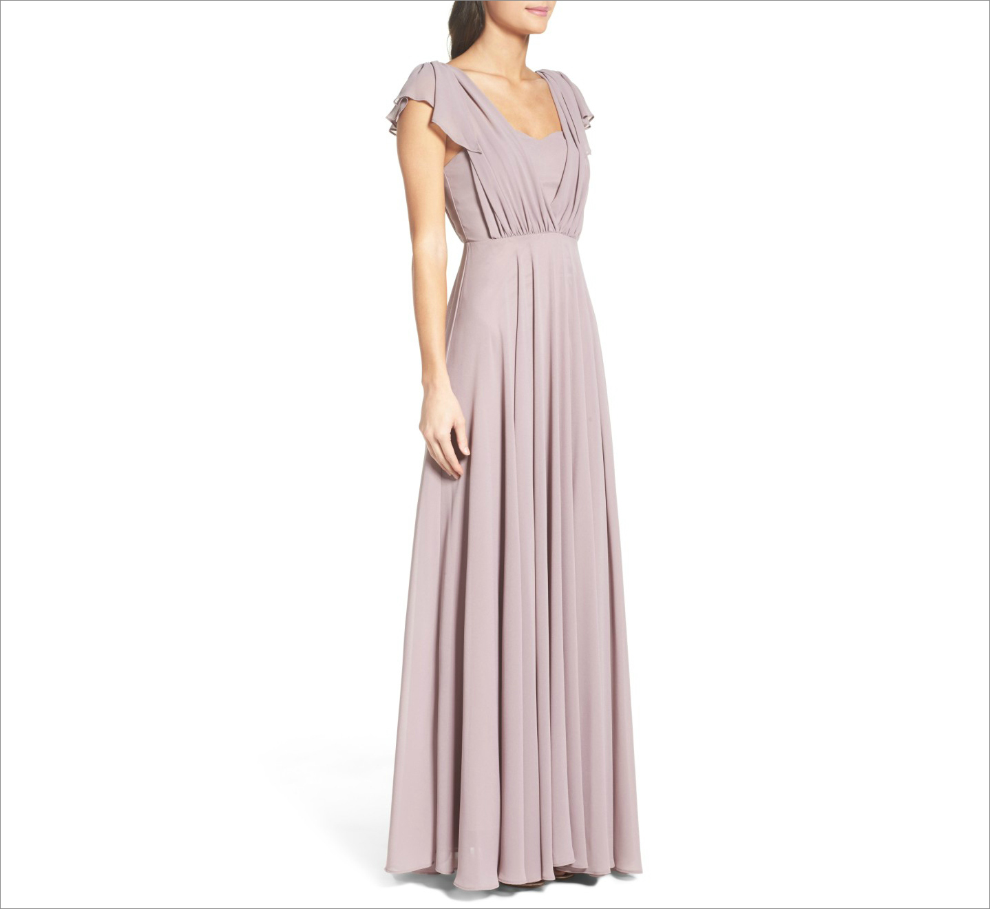 Lavender flutter sleeve long bridesmaid dress ideas under 150