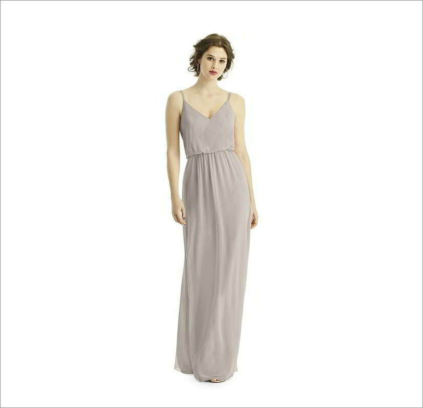 V neck chiffon grey bridesmaid dress under 150 ideas