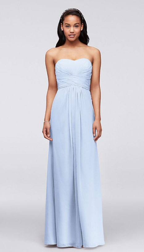 Strapless light blue chiffon bridesmaid dress ideas under 150 david's bridal