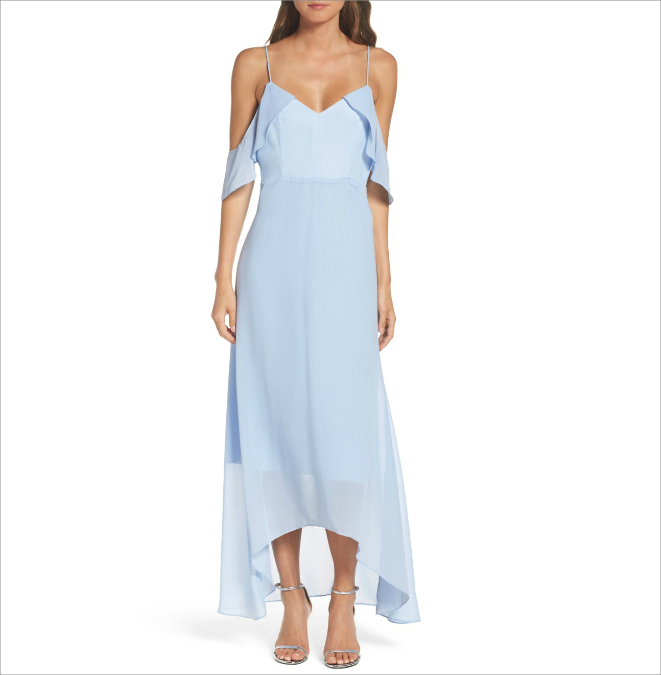 Cold shoulder light blue long bridesmaid dress ideas nordstrom under 150