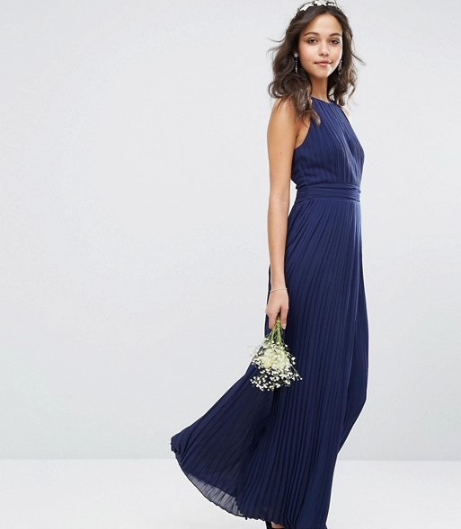 High neck pleated navy bridesmaid dress ideas asos under 150