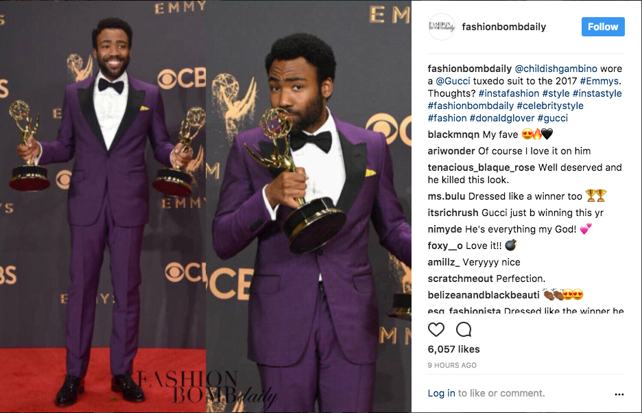 donald glover emmy awards 2017 atlanta, purple tux by gucci