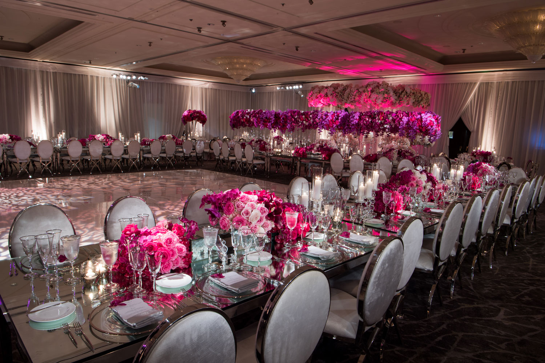 Inside Weddings Fall Winter 2017 Issue Preview opulent fuchsia purple pink wedding reception ballroom