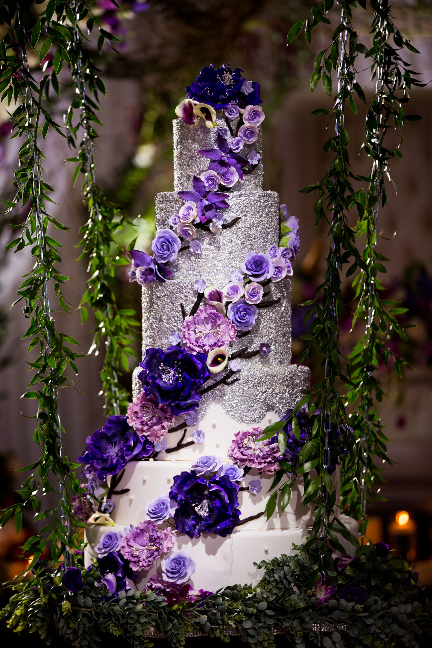 Inside Weddings Fall Winter 2017 Issue Preview tall purple silver wedding cake bocci wedding reception