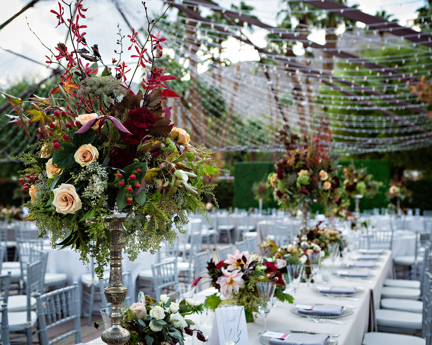 String twinkle lights over outdoor wedding reception fall colors