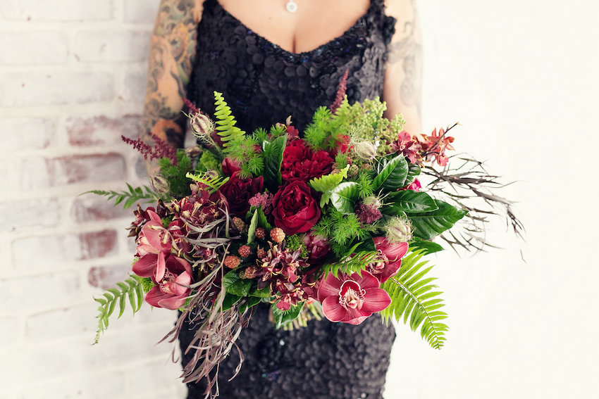 modern bridal bouquet, marsala orchids, lots of greenery