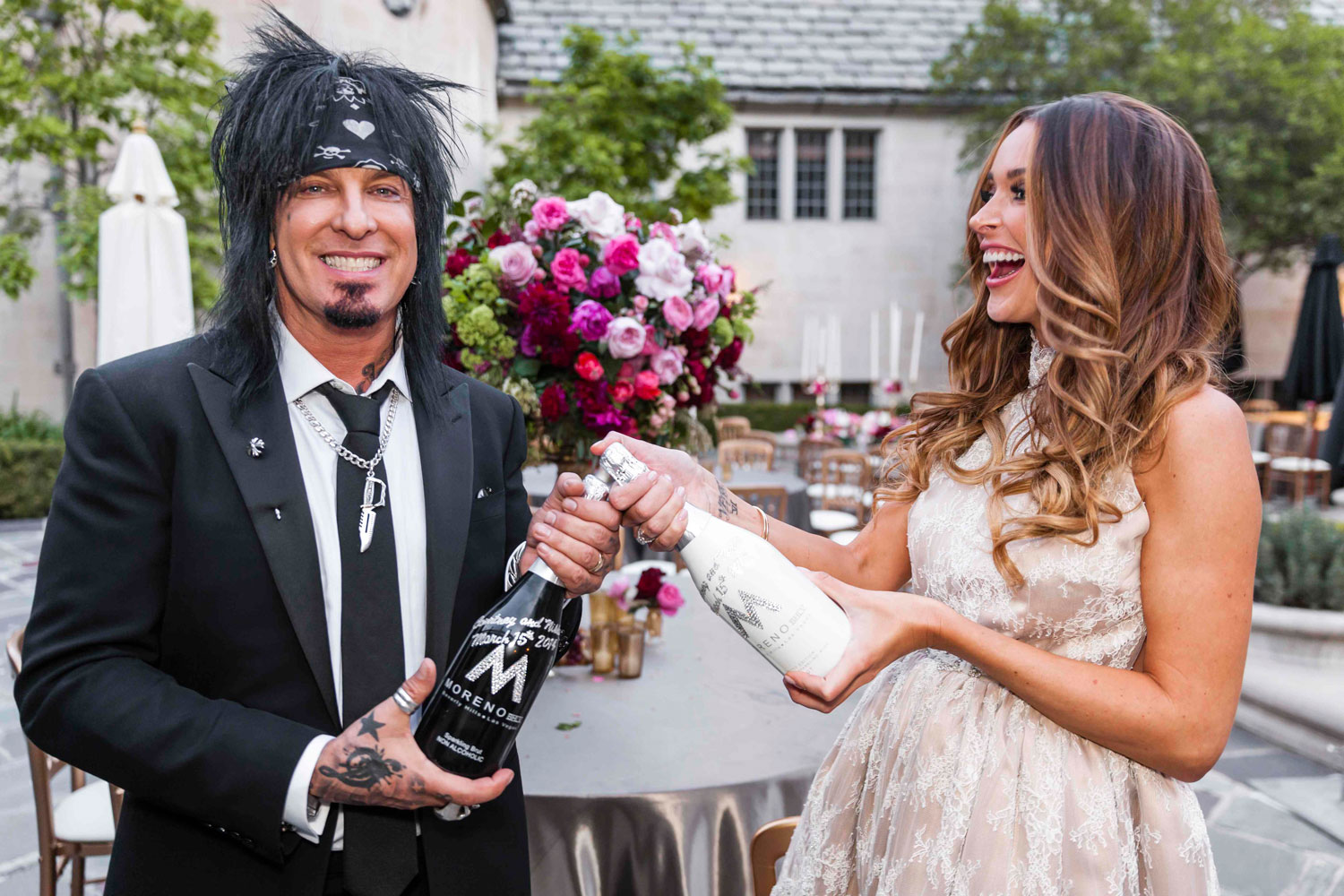 His and hers wedding champagne bottles motley crue nikki sixx and courtney bingham