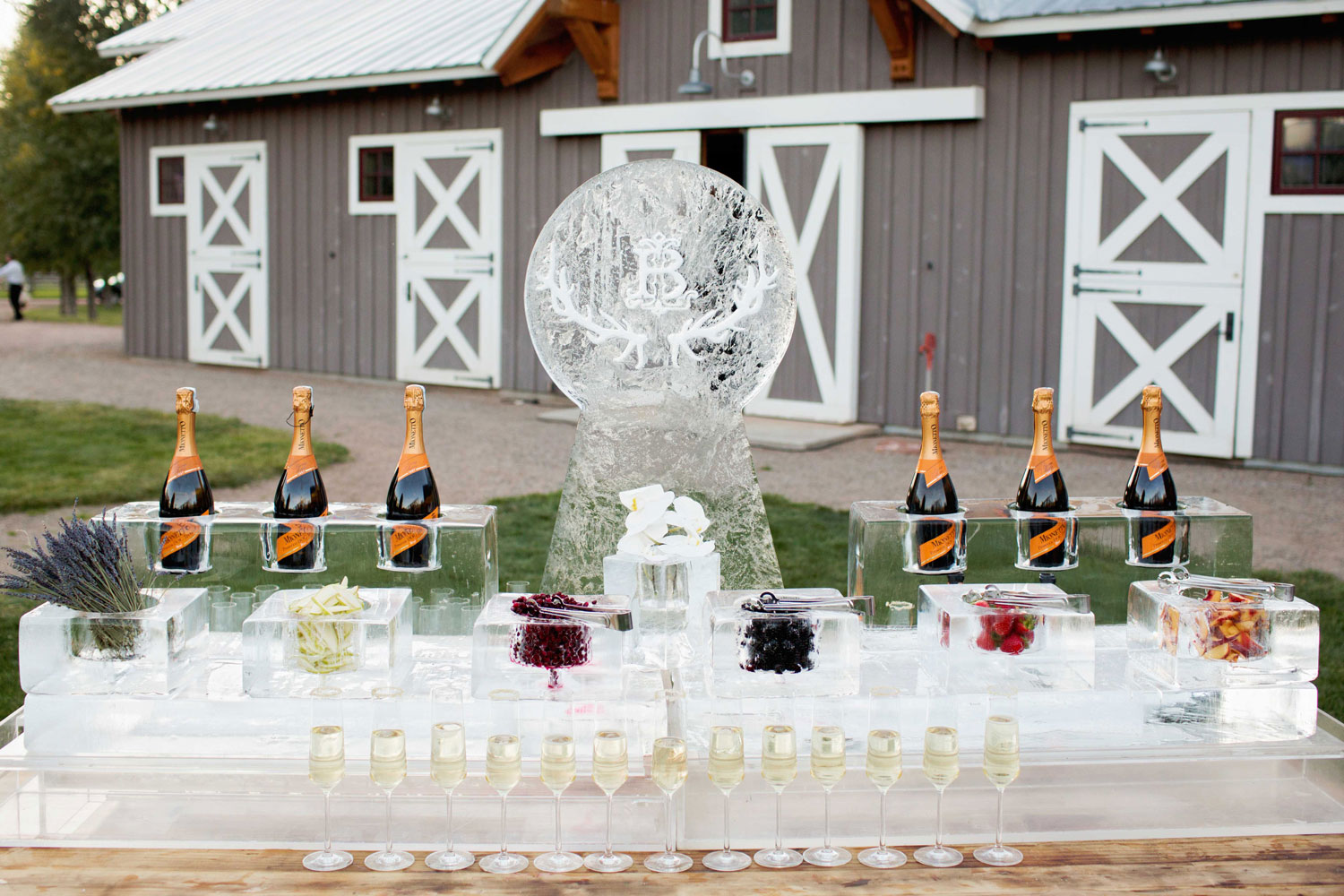 Champagne bubbly bar with fruit and ice sculpture