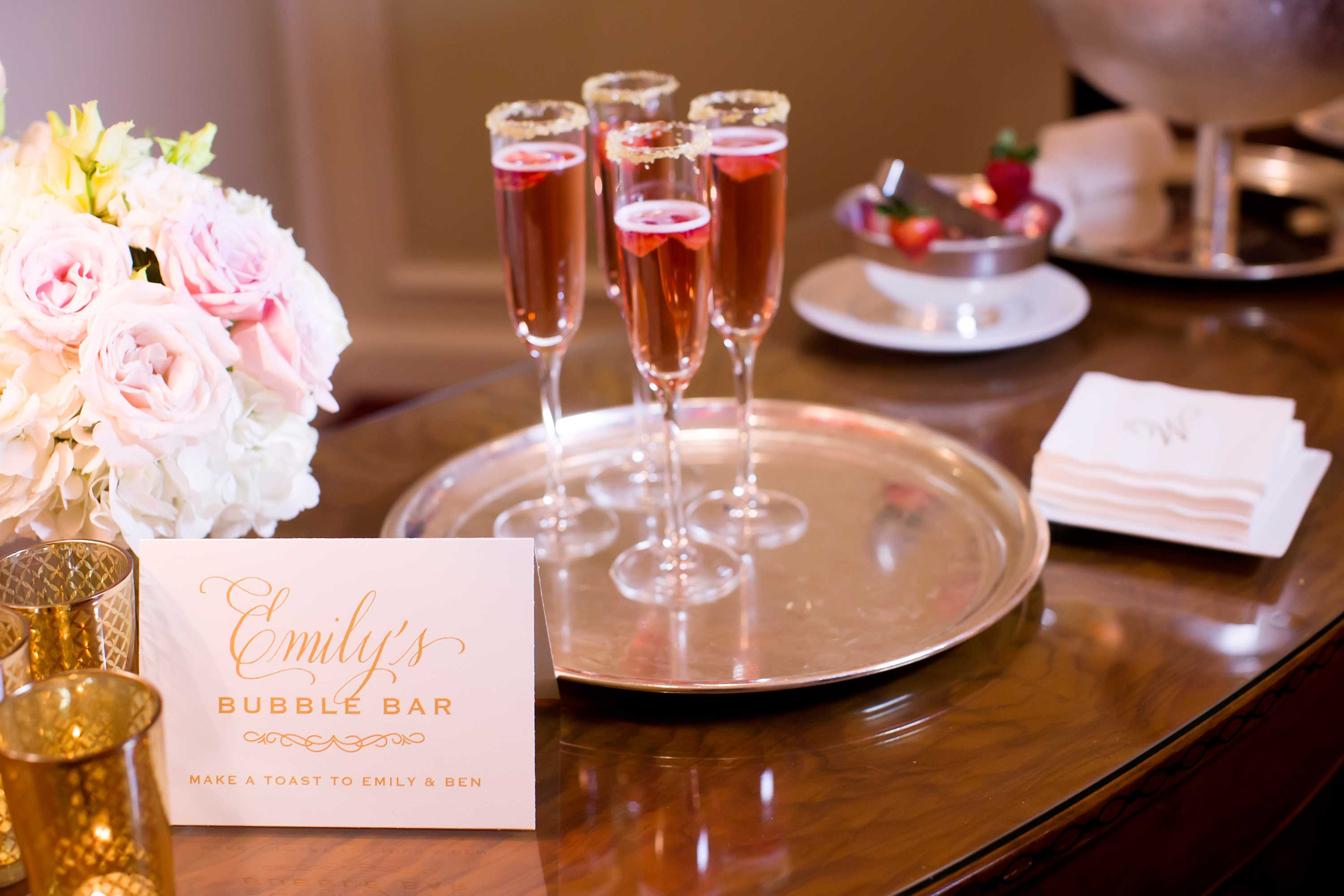 Rose champagne in flutes at bubbly bar in champagne ladies room lounge restroom wedding ideas