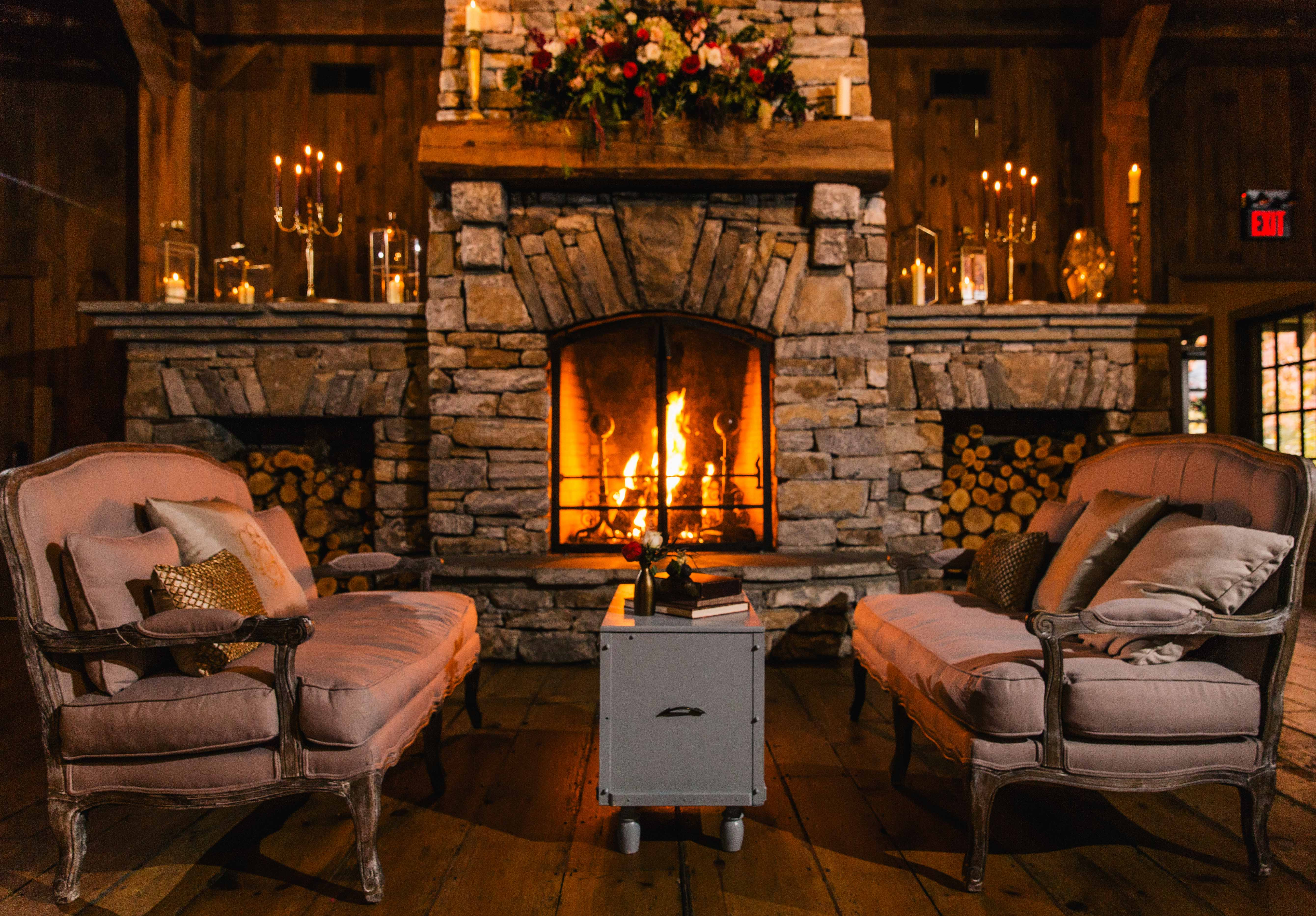 Fall wedding ideas venue with fireplace and lounge area