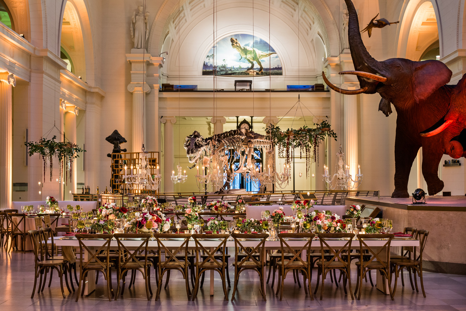 Sue the T Rex wedding reception venue with fall wedding colors