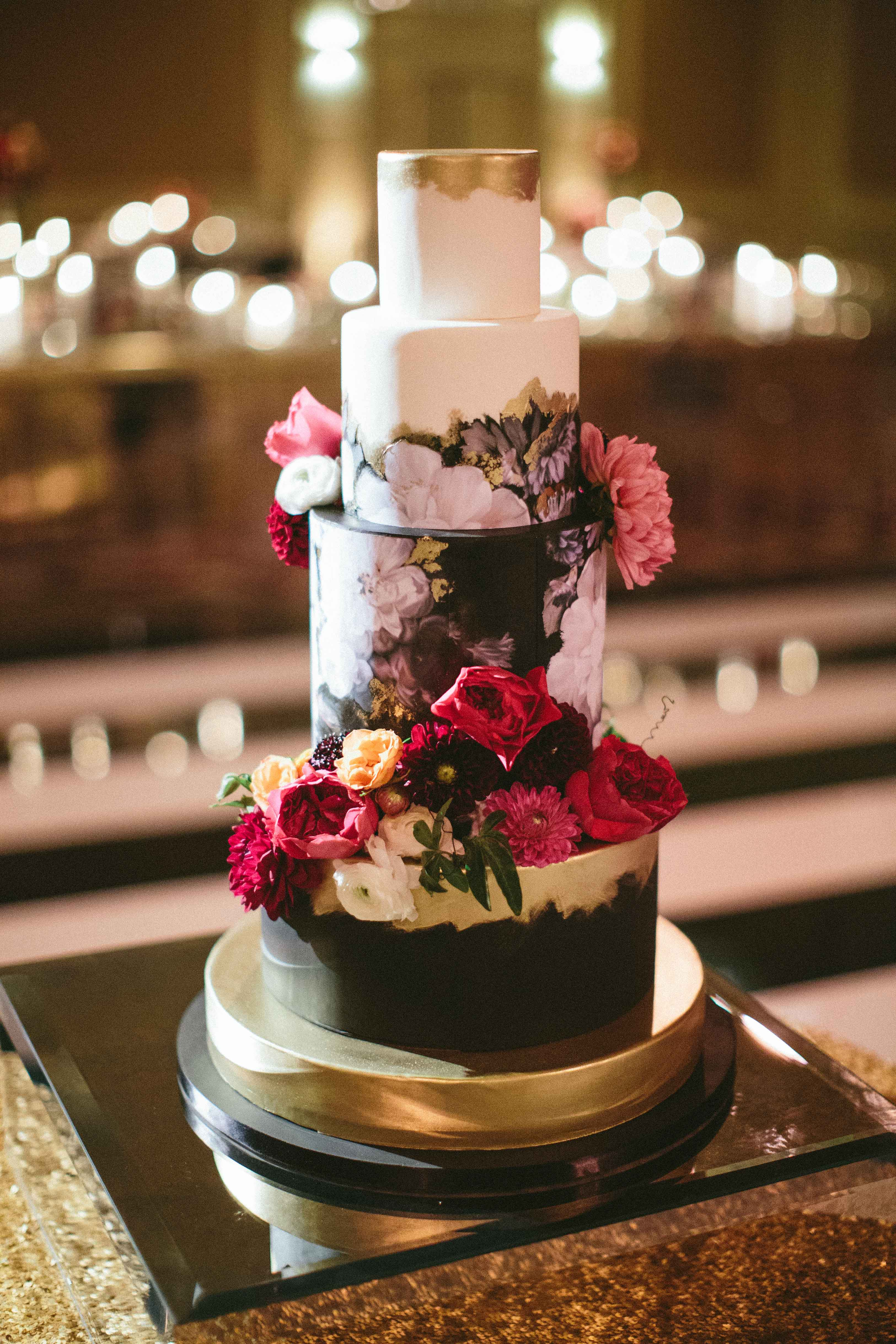 Fall color wedding cake black handpainted design