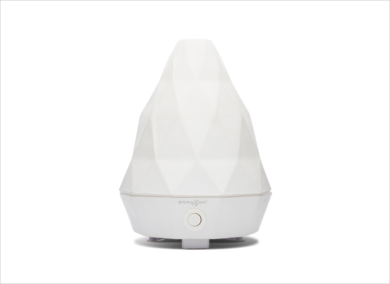 Saje Aromagem matte white ultrasonic diffuser in white bridal relaxation tips and products