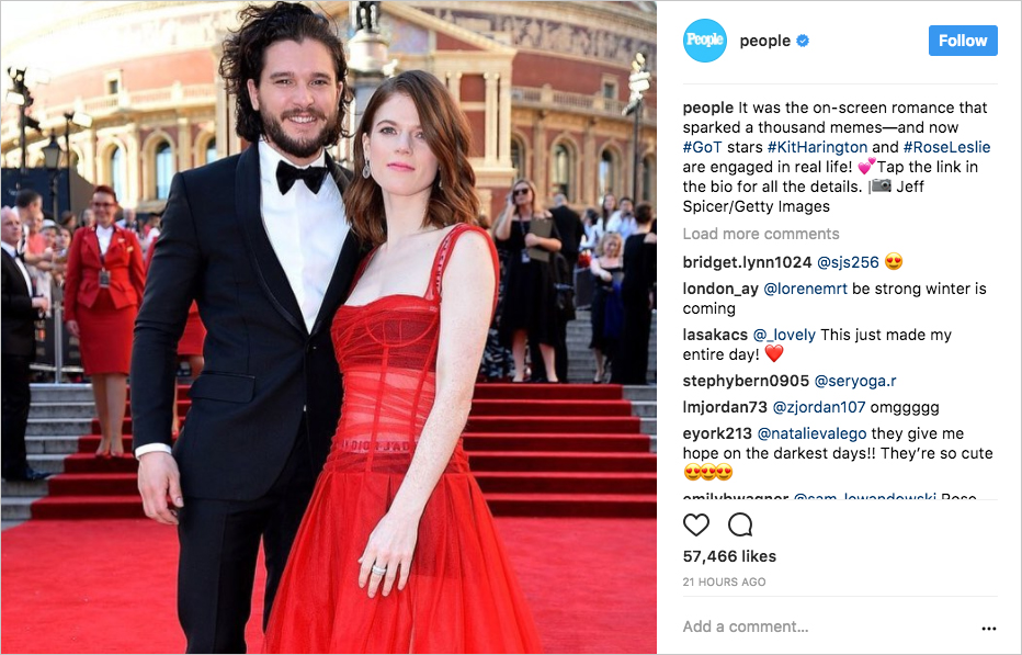 Kit Harington and Rose Leslie game of thrones co stars engaged people instagram