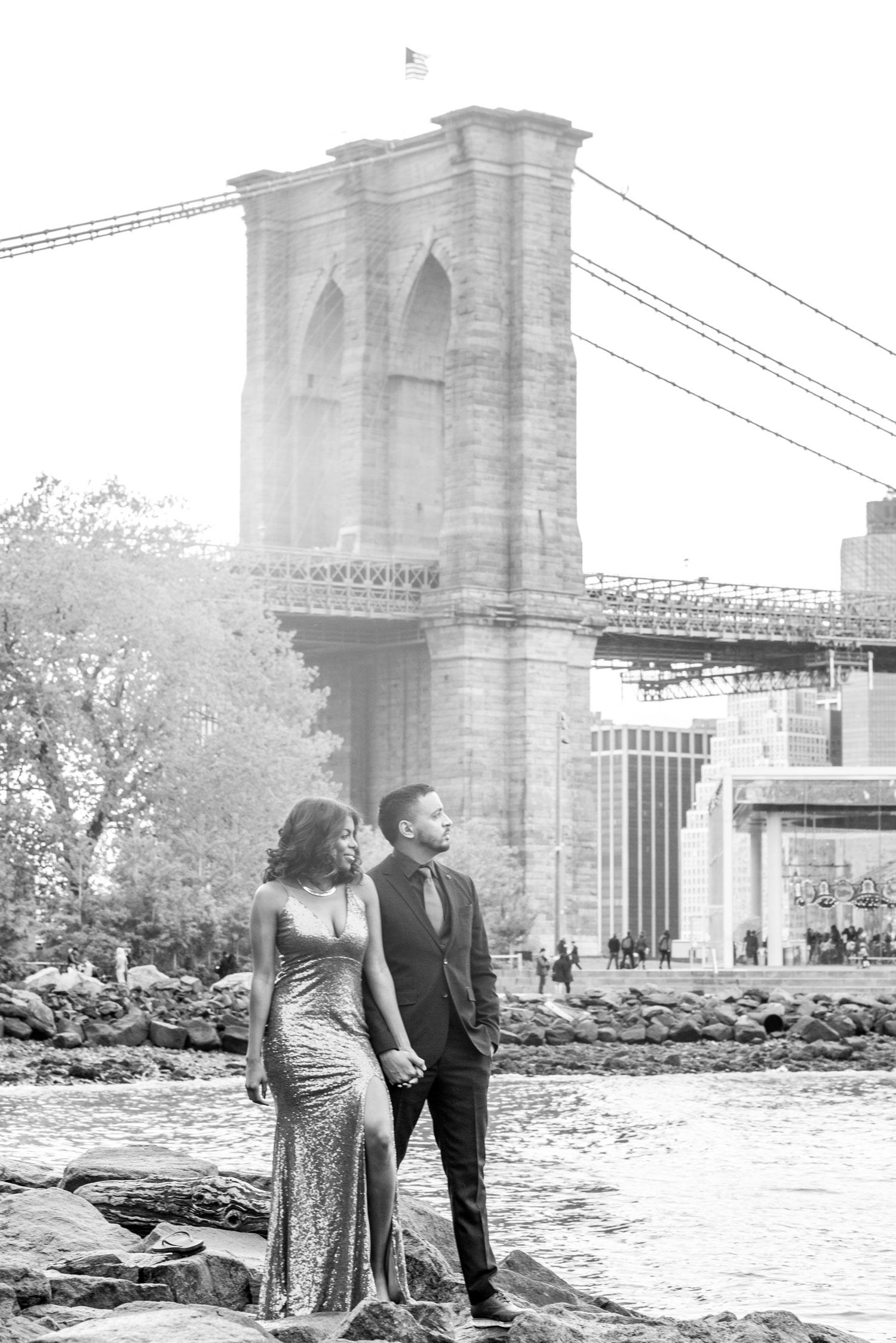 The Dumbo neighborhood Brooklyn new york engagement shoot black and white brooklyn bridge