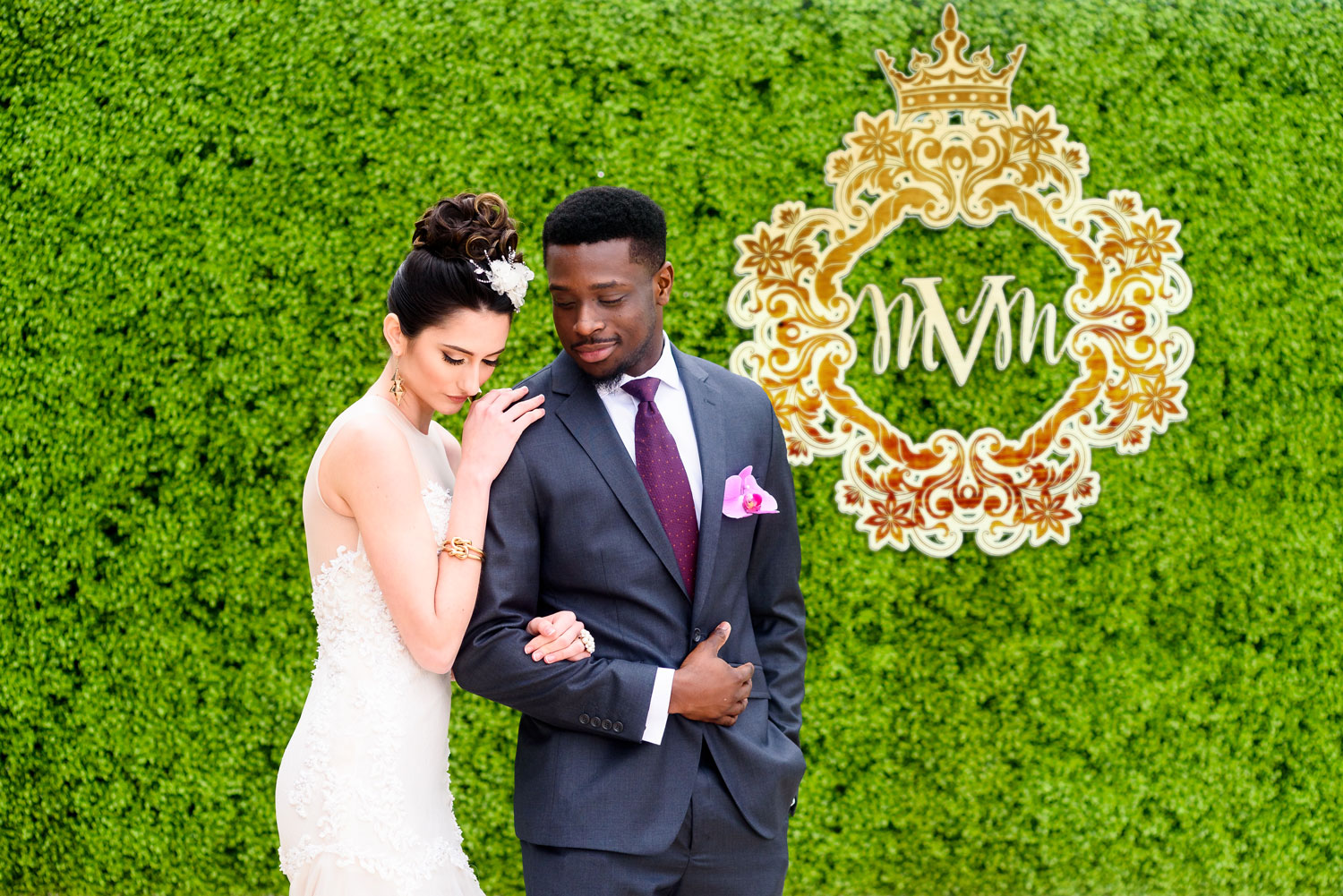 Styled shoot with bright purple color palette storybook setting Lily V Events bride and groom