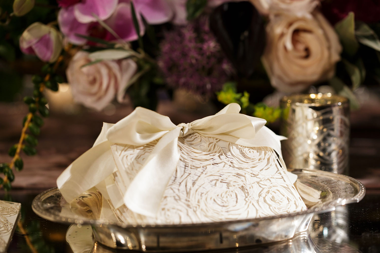 Inspired Wedding styled shoot A Romantic Affair Bob & Dawn Davis Photography stack of ceremony programs Elizabeth Grace