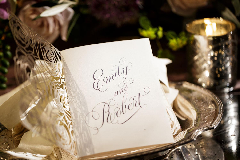 Inspired Wedding styled shoot A Romantic Affair Bob & Dawn Davis Photography inside of ceremony program laser cut Elizabeth Grace