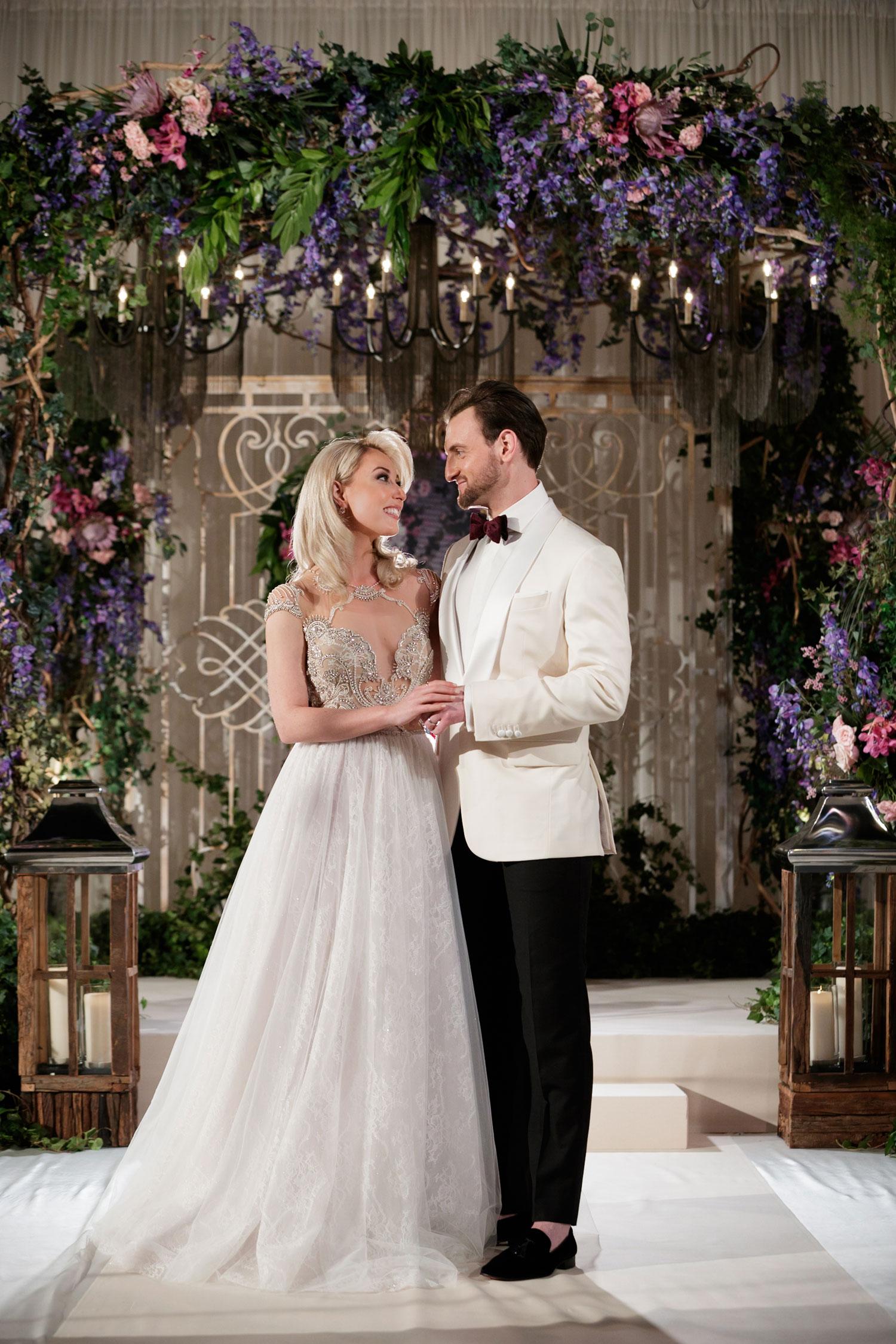 Inspired Wedding styled shoot A Romantic Affair Bob & Dawn Davis Photography bride and groom flower arch