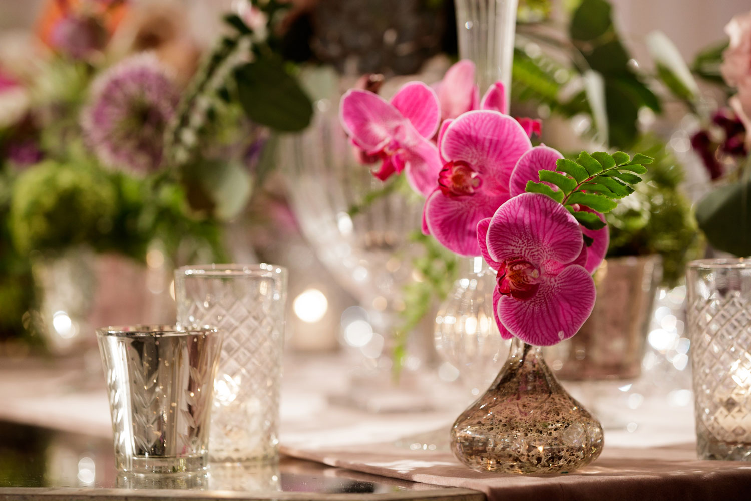 Inspired Wedding styled shoot A Romantic Affair Bob & Dawn Davis Photography pink orchids in vase