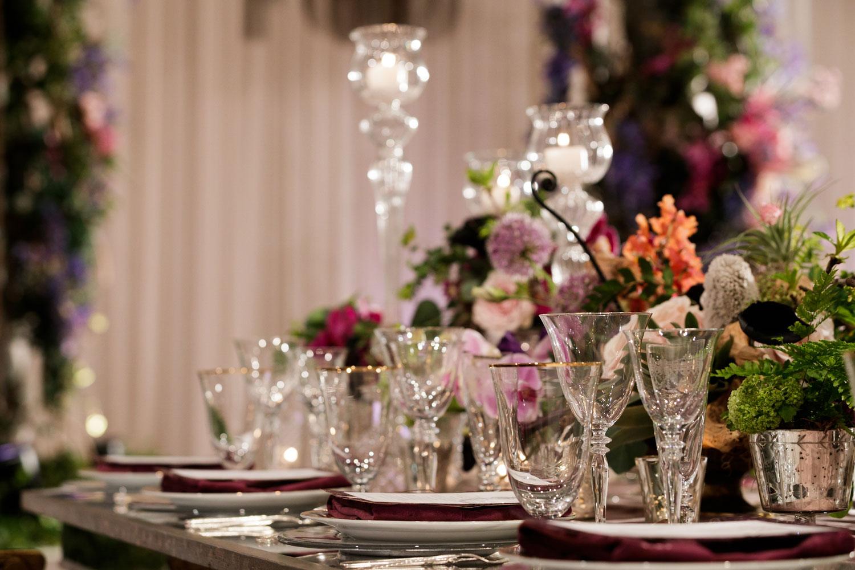 Inspired Wedding styled shoot A Romantic Affair Bob & Dawn Davis Photography gold rim glassware wedding reception table