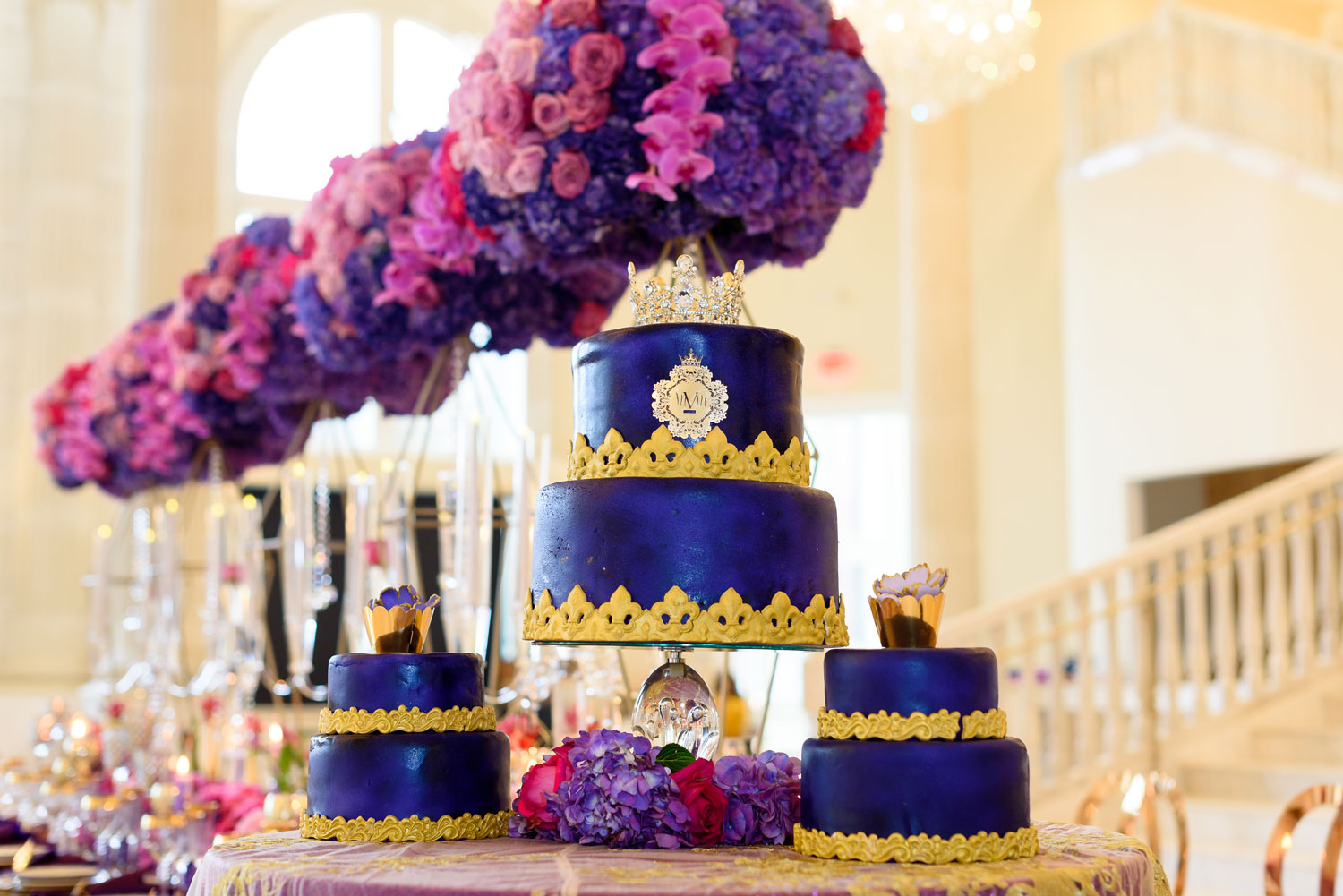 Styled shoot bold purple color palette Lily V Events cakes
